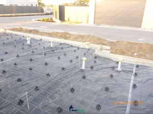 concrete slab with alligned mesh- ups