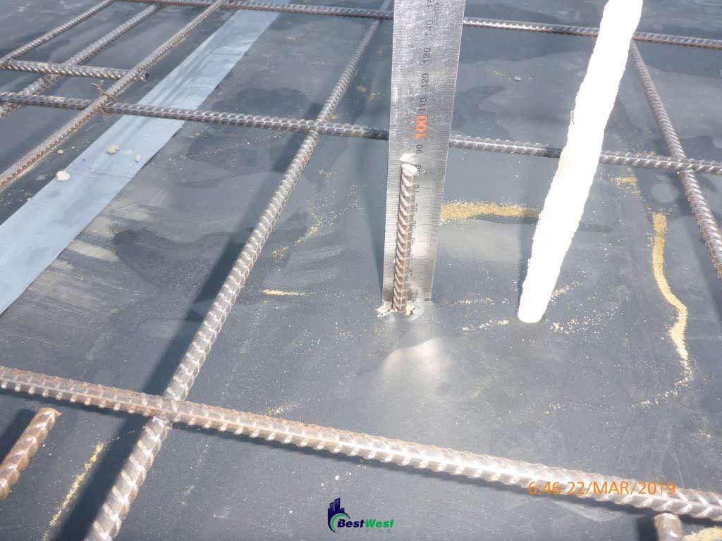 measure mesh reinforced into concrete slab